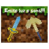 Kit Espada E Picareta Minecraft - Emite Som E Luzes