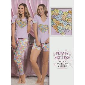 Pijama Para Dama 3 Piezas, Blusa, Pantalón Y Short