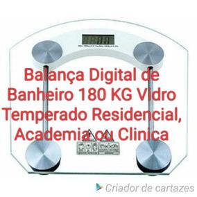 Kit 2 Balança Digital De Banheiro 180 Kg Vidro Temperado