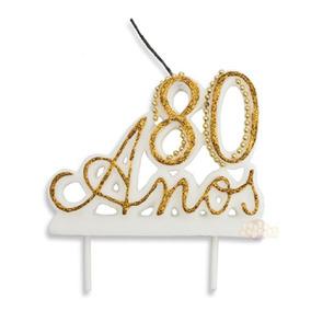 Vela 80 Anos Manuscrita Luxo Cores