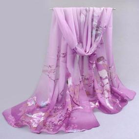 Bufanda, Manton Estola Purpura Flores Pajaros