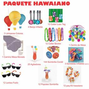 Paquete Hawaiano Articulos Fiesta Luau Alberca Playa Palmera
