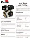 Motor À Diesel Toyama Td70f 6.7hp 296cc 4 Tempos
