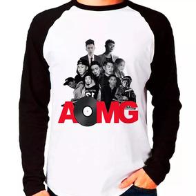 Camiseta Blusa Raglan Manga Longa Kpop Aomg Integrantes