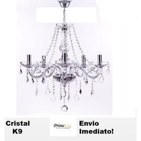 Lustre 5 Braços Candelabro Cristal K9 60cm Maria Tereza