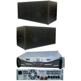 Kit 2 Subwoofers Oversound 2x18 + Amplificador Skp 7200rms