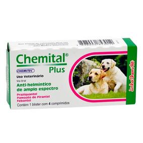 Chemital Plus 04 Compr. Verfmifugos Para Cães
