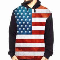 Blusa Moletom Estados Unidos Bandeira Usa - Estampa Total