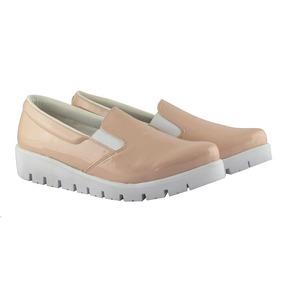 Tenis Altos Zapatos De Charol Beige Calzado Rojas