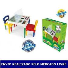 Mesinha Didática Infantil Poliplac Com 2 Cadeiras E Adesivos