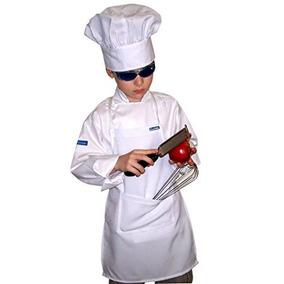 Niños De Los Niños Conjunto Chef Chaqueta Y Sombrero Blanco,