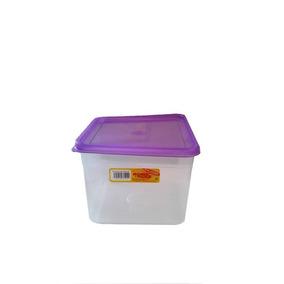4 Cajas Herméticas Plástico Transparente, Tapa De Colores