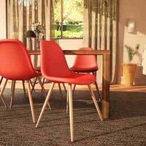 Cadeira Eames Laranjada Banqueta Laranja Pé Madeira