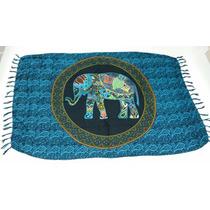 Canga De Praia Mandala Elefante Azul
