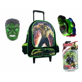 Mochila Escolar Infantil Hulk + Boneco Com Máscara
