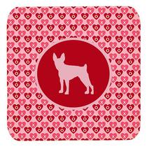 Conjunto De 4 Toy Fox Terrier Valentine Corazones De Espuma