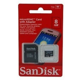 Cartão Micro Sd 8g Sandisk Kingston + Adaptador Sd Lacrado