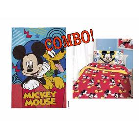 Combo Sábana + Frazada Simil Piel Mickey Piñata Oferta