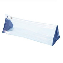 Kit 3 Necessaire Transparente Azul Royal Plastico