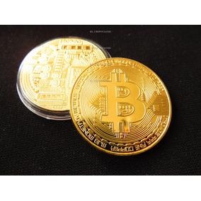 Moneda One Bitcoin Coin Chapeado Tipo Oro 24 K