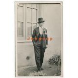 Antigua Foto Postal Hombre De Traje Y Sombrero Vestimenta