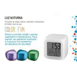 Luz Noturna Color Relogio Despertador Termometro Multikids