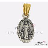 Medalla Virgen Milagrosa Plata 925 Y Oro 18 Kts. Dv073