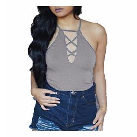 Crop Top Blusas Camiseta Sexy Espalda Dama Moda 45