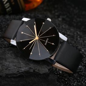 Relógio Feminino Masculino Preto Pulseira Couro Casual Luxo