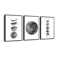 Quadro Decorativo Fases Da Lua Eclipse Sala Quarto Noite