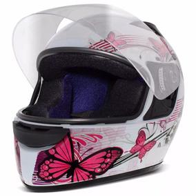 Capacete Moto Ebf Spark Feminino Borboleta Branco E Rosa