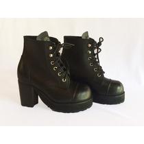 Coturno Feminino Couro Legítimo Preto Bota Vilela Boots Rock