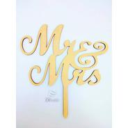 Cartel - Topper Cake Mr & Mrs Personalizado Mdf/ Fibrofacil