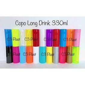 100 Copos Long Drink Acrílico - Cores Neon E Comum. Indique!
