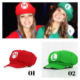 Chapéu Boina Festa Fantasia Super Mario Vermelho Luigi Verde 97e74189209