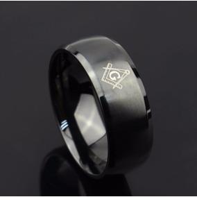 Anel Titanium Maçonaria Black Não Descasca - Alta Qualidade