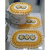 Kit Jogo De Banheiro Em Croche Barbante 3 Peças Amarelo