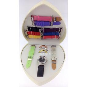 Kit Relógio Feminino Troca Pulseiras - 11 Pulseiras/4 Aros