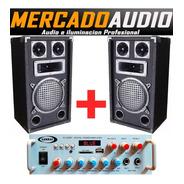 Combo Karaoke Amplificador Bluetooth Usb + 2 Bafles 8 PuLG