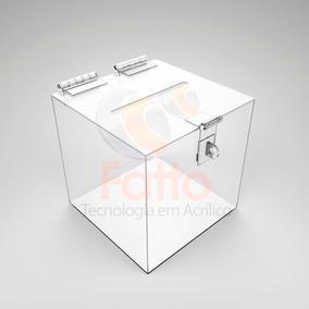 Urna Quadrada De Acrílico Cristal Porta Cupons 30x30x30 Cm
