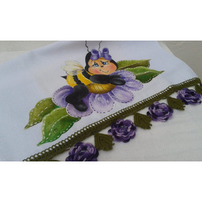 Pano Prato Pintado Mão Bico Crochê Flores Guardanapo Fogão