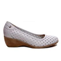 Zapato Mujer Taco Chino, Calado Cuero Blanco, Marta Sixto