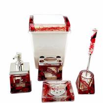 Conjunto Banheiro Em Acrílico Lixeira Porta Sabonete Escova