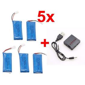 5 Bateria 500mah Drone Hubsan X4 H107 Af911 + Carregador 5x1