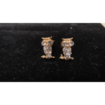 Aretes De Oro Laminado Forma Buho Piedra Blanca Barato
