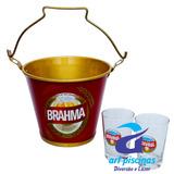 Combo Balde De Gelo Cerveja Brahma Com 2 Copos De Vidro