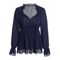 Tsuki Moda Asiatica: Blusa Elegante Cuello Olanes High Waist
