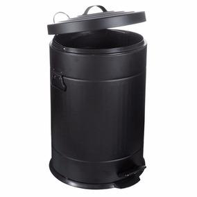 Lixeira Retrô Cesto Lixo Banheiro Cozinha Pedal Preta 12l