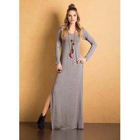 Vestido Longo Com Fenda Malha De Viscose Com Elastano Decote