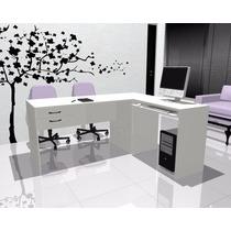 Escritorios L Blanco Lado B Mesa De Pc Muebles De Oficina 08